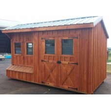 Fully Assembled Amish Made 10x16 Chicken Coop-Shed